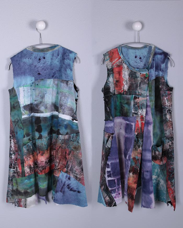bright patchwork mixed textured a-line vest