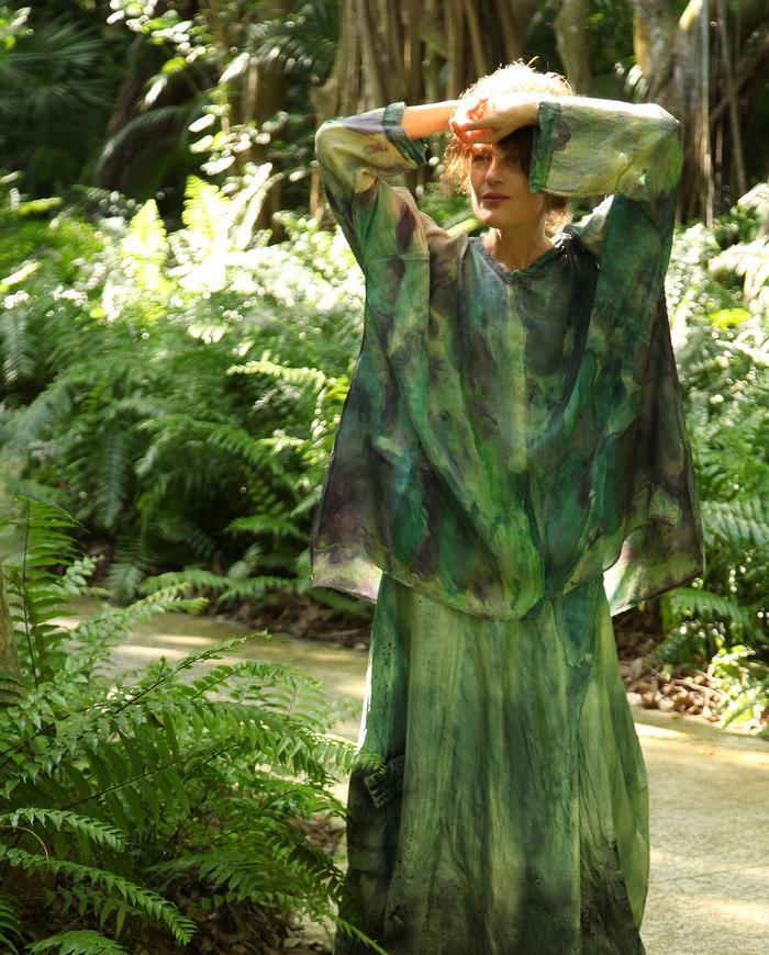weightless hand-painted oversized silk tunic