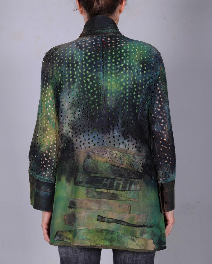 eyelet black and green hand-painted jacket