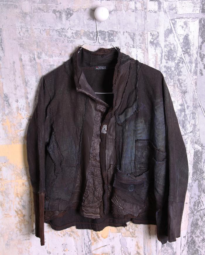 short espresso patchwork leather and Belgian linen jacket