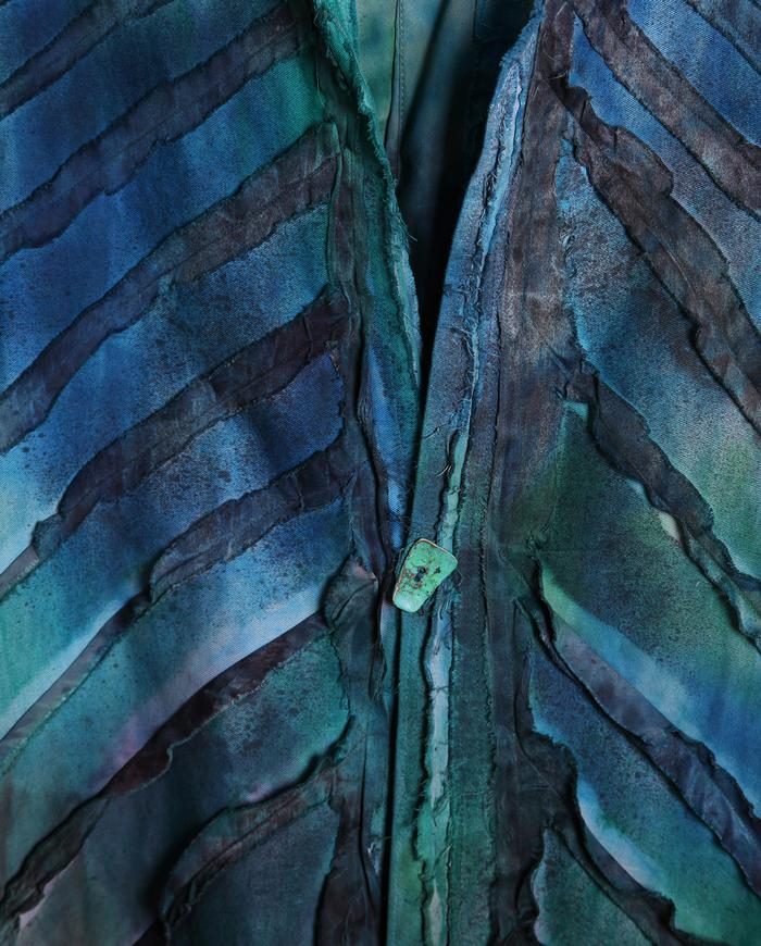 geometric applique emerald ombre jacket
