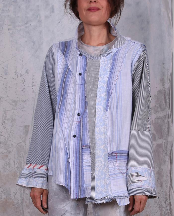 striped patchwork mixed fabric oversized button-down shirt