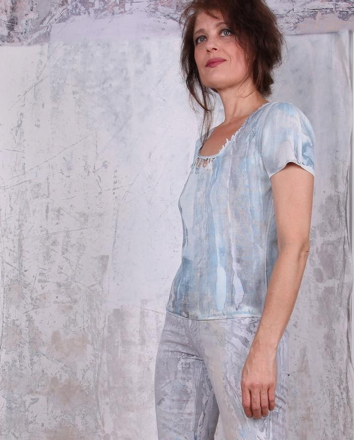 distressed scoop neck hand-painted silk knit top