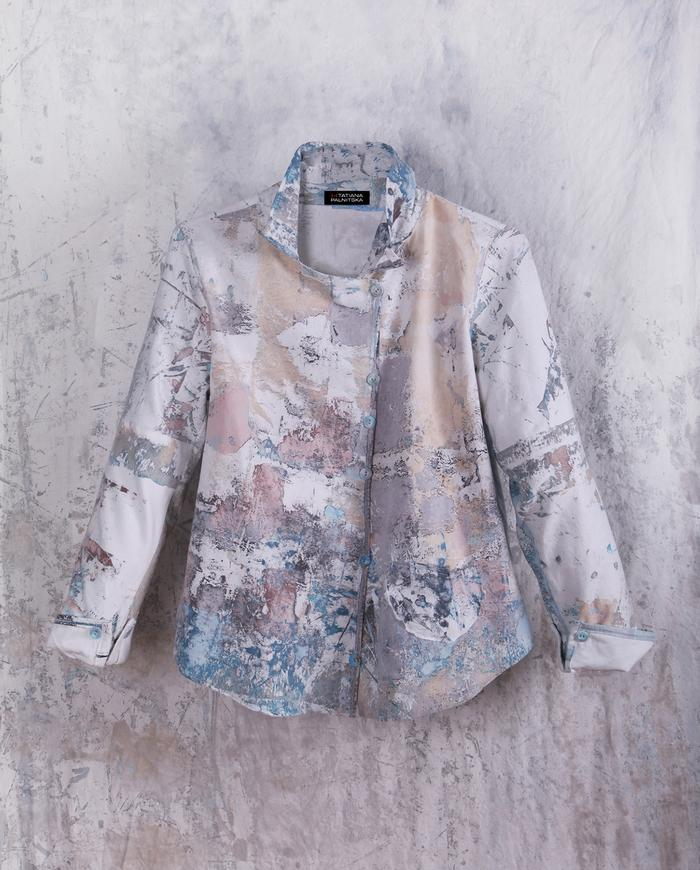 tailored fit hand-painted button-down shirt or jacket in pastels