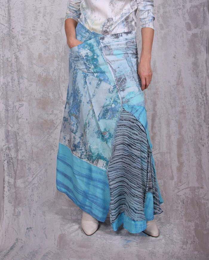 bright blues A-line patchwork hand-painted maxi skirt