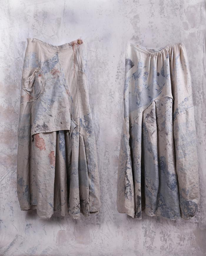 hand-painted boho maxi godet skirt in natural beige