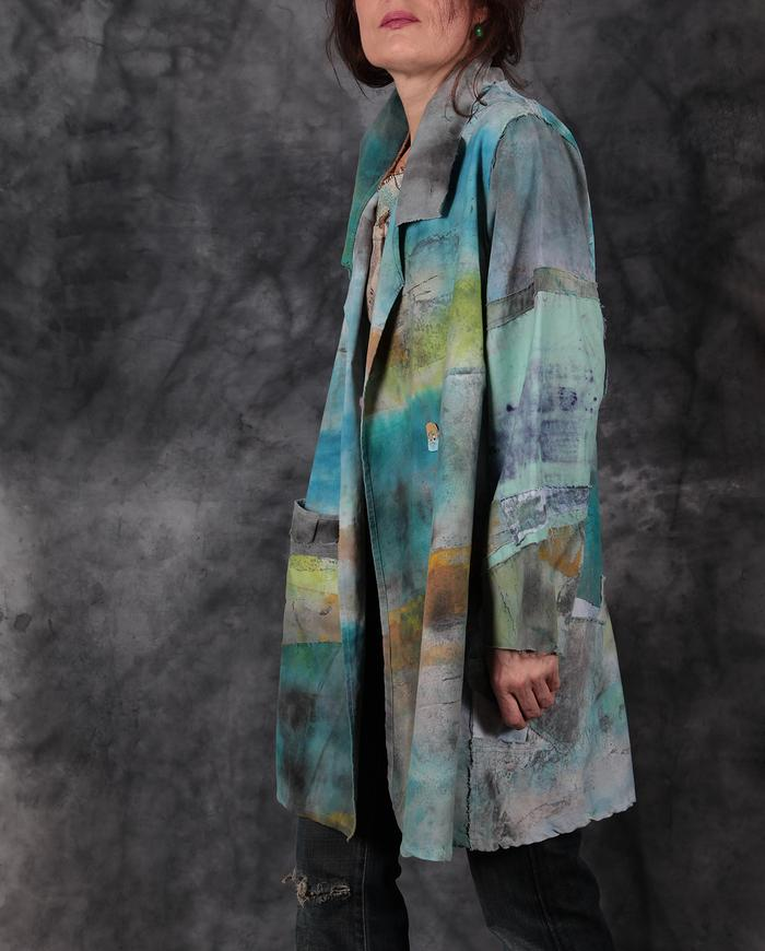 tropical patchwork brushed cotton hand-painted jacket