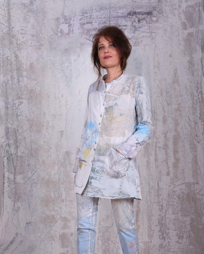 'day at the beach' weightless cotton gauze signed button-down jacket