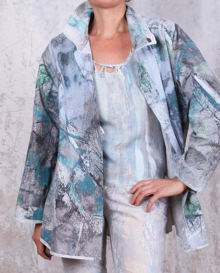lightweight cotton poplin jacket in green, blue and gray