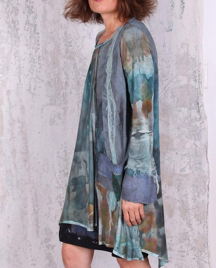 subtle watercolors hand-painted A-line long loose fit tunic