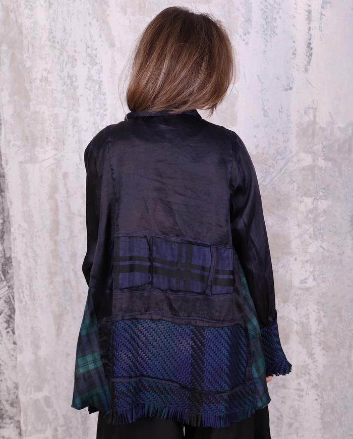 subtle plaid sapphire blue organza and woven silk jacket