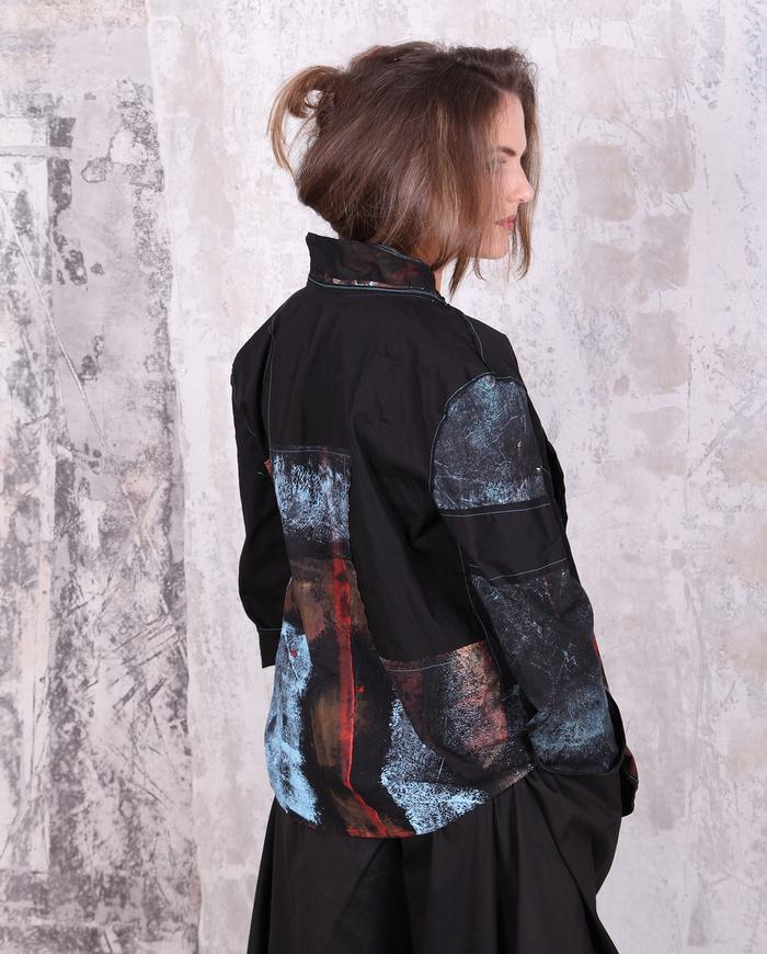 easy lightweight mostly black hand-painted jacket