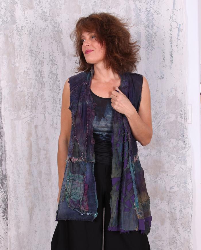 highly detailed super texture fiber art vest