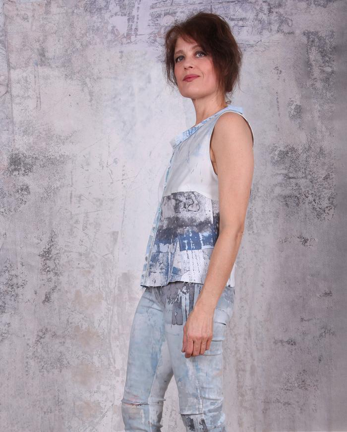 button-down sleeveless patchwork fitted top