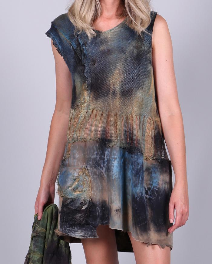 distressed knit hand-painted mini-dress/tunic