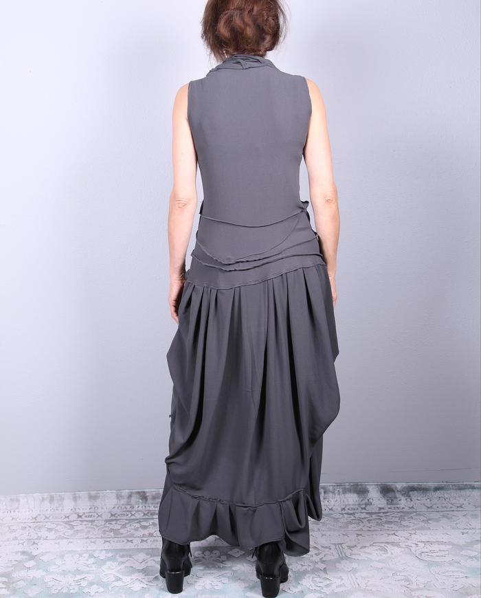 body-hugger drapey stretch maxi dress in deep gray