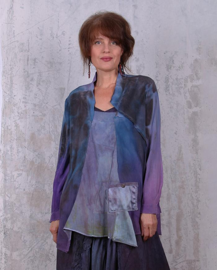 subtle patchwork distressed violet silk crepe blouse/tunic