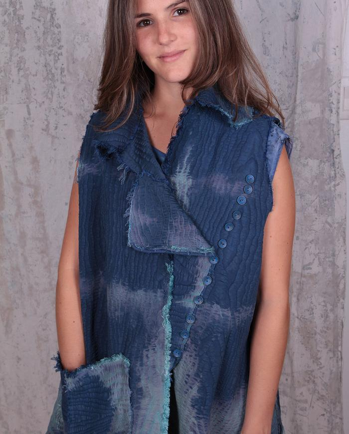 vintage cotton moire distressed textural indigo vest