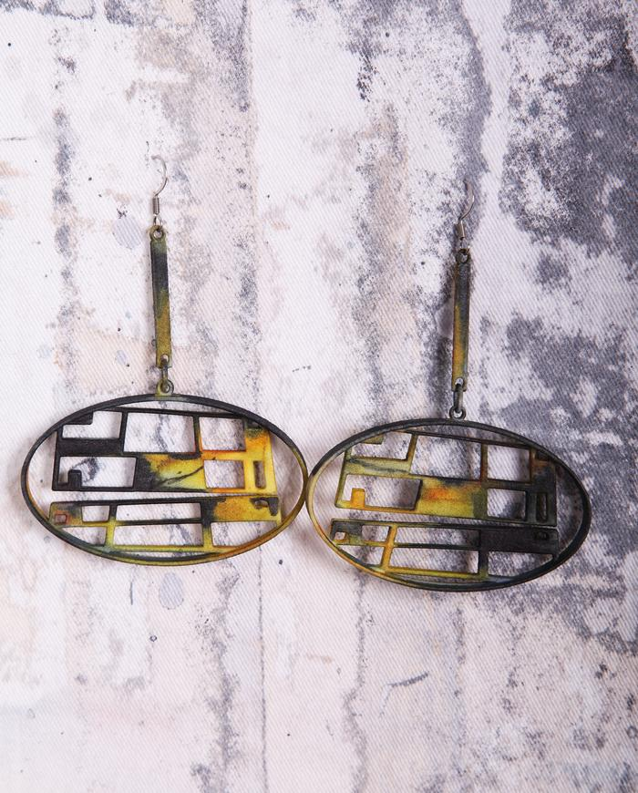 black and yellow hand-painted sculptural earrings