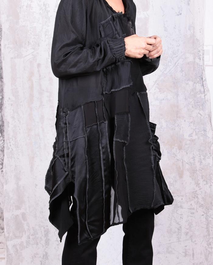 textured black flowy silk tunic