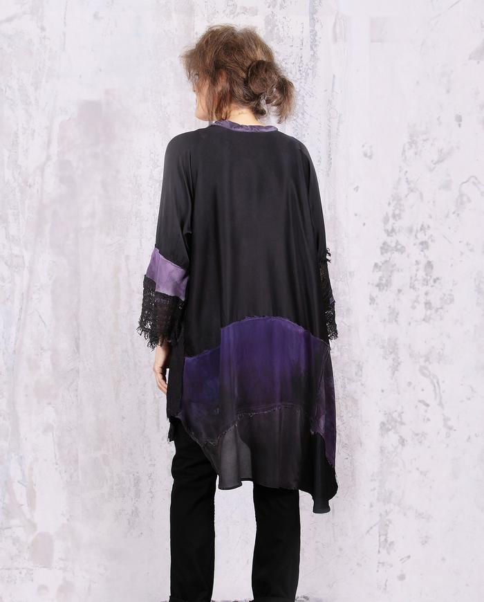 patchwork black and violet silk tunic
