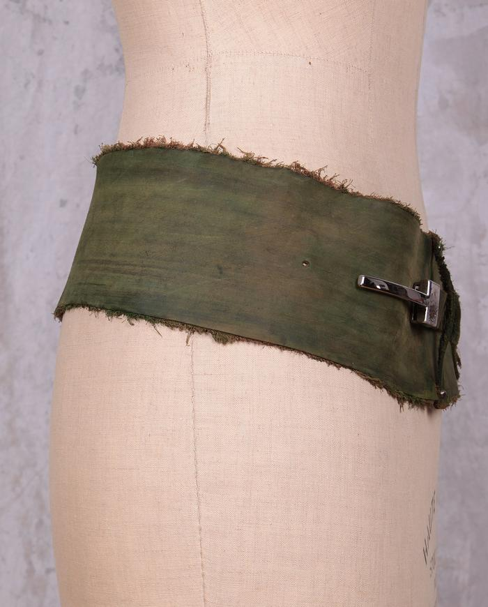 distressed green soft leather belt
