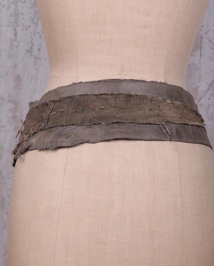 gray green detailed fiber art leather belt