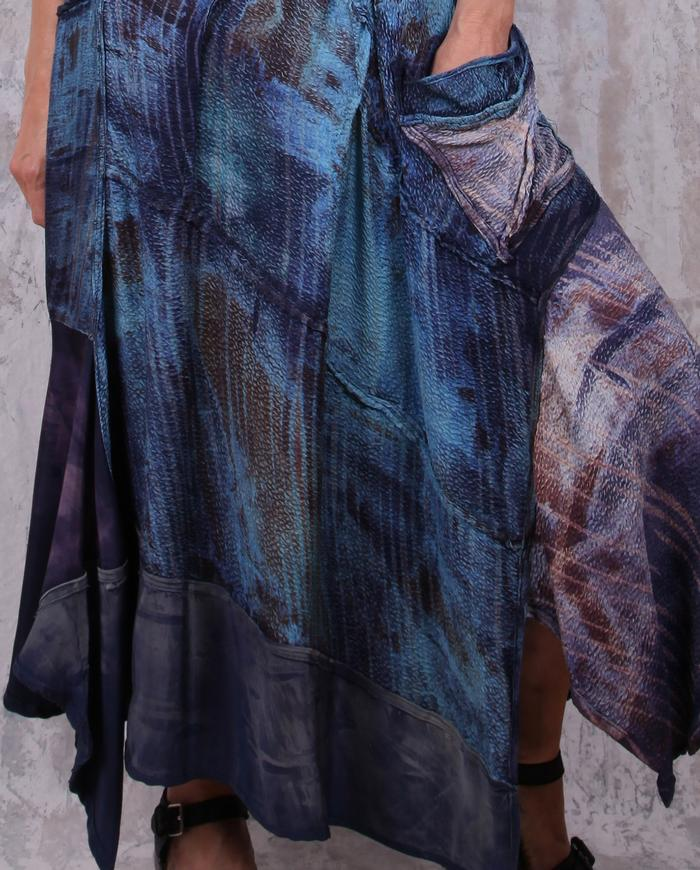 textured 'blue dreams' silk maxi bias dress