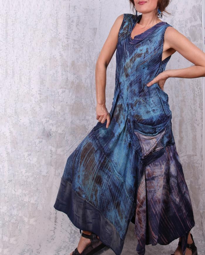 textured 'blue dreams' silk maxi bias dress