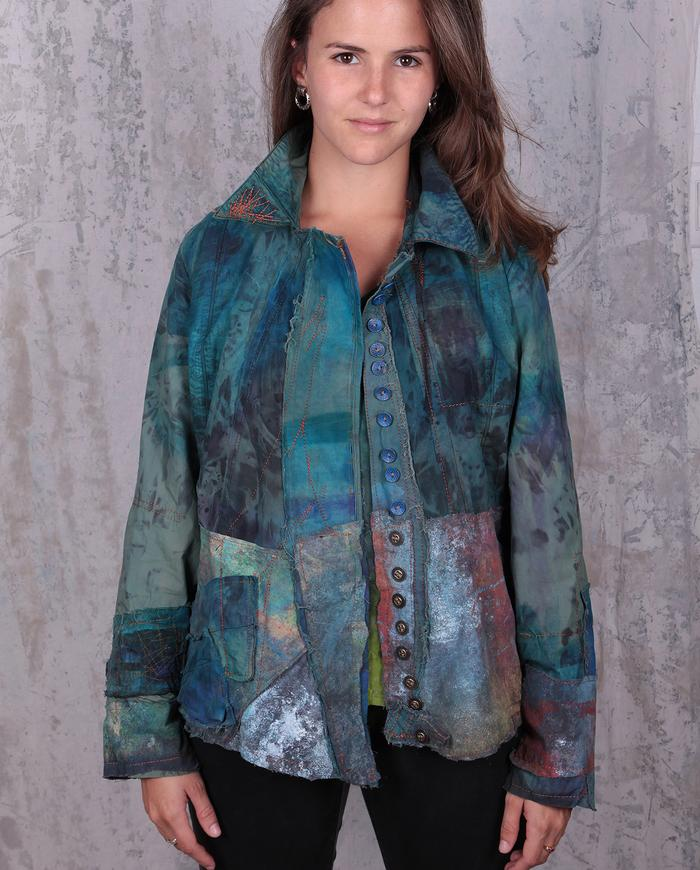 vibrant colors detailed avant-garde jacket
