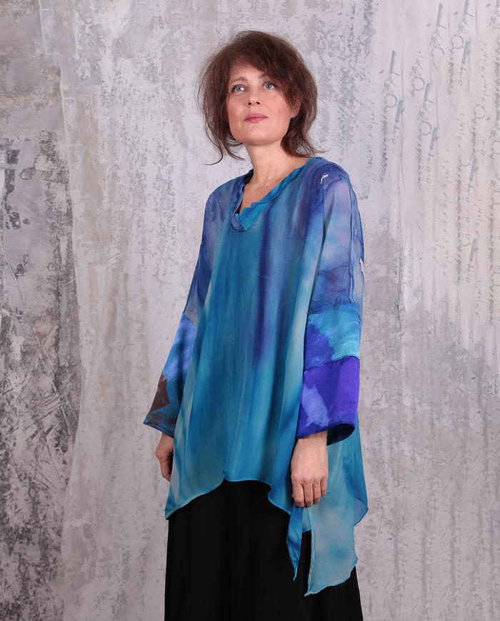 sheer violet and blue hand-painted silk tunic