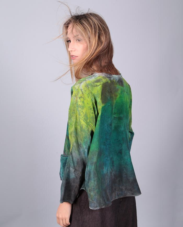 'lush meadows' loose-fitting bold greens hand-painted silk top