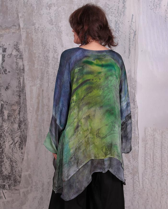 flowy mixed silks hand-painted tunic