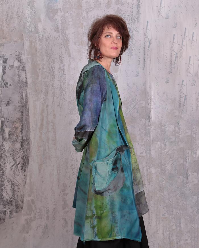 long hand-painted silk crepe vest