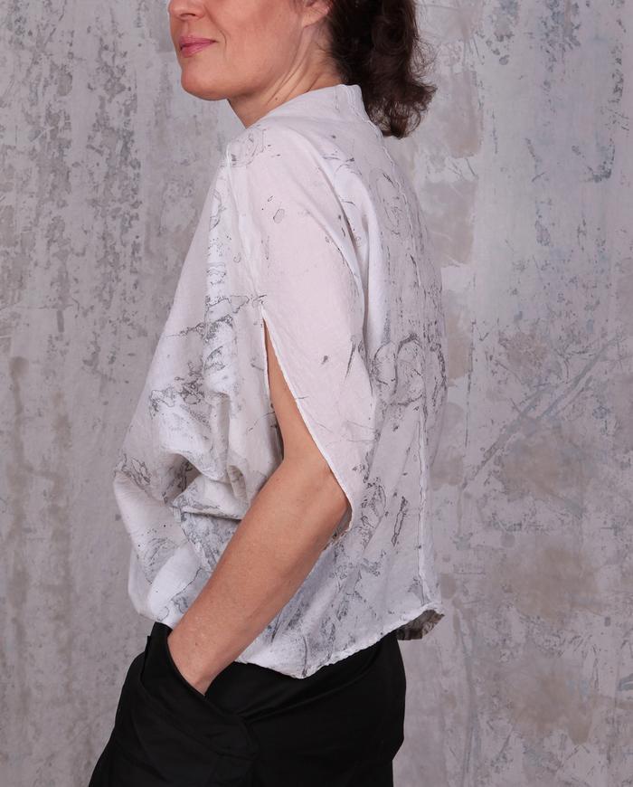 weightless cotton batiste hand-painted summer top