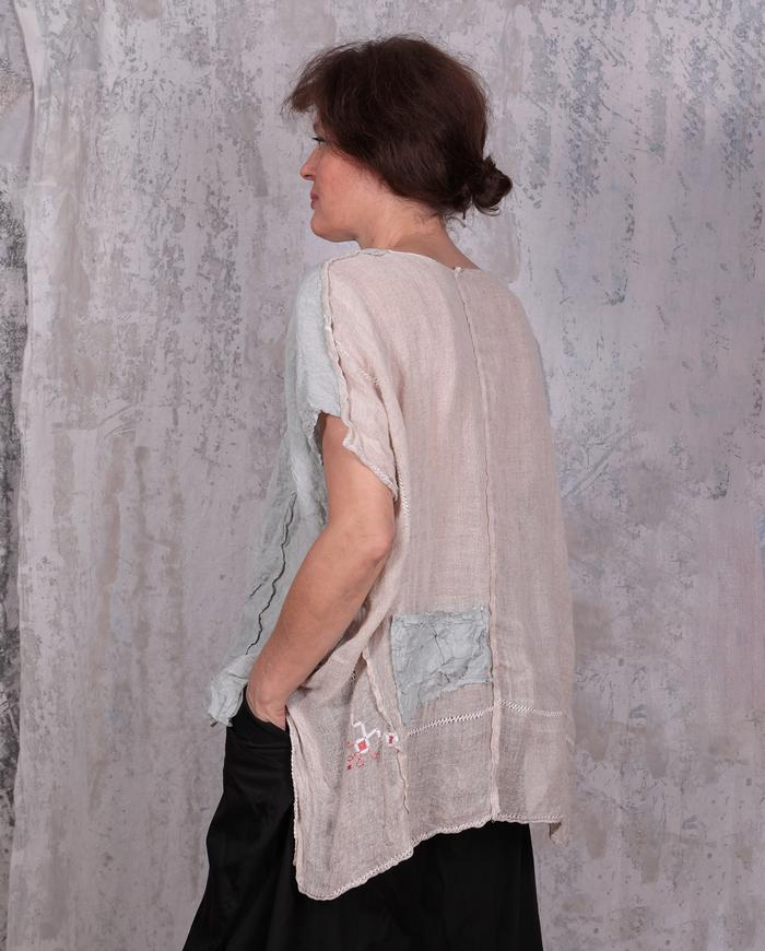 high-low linen and cotton gauze two-color summer top