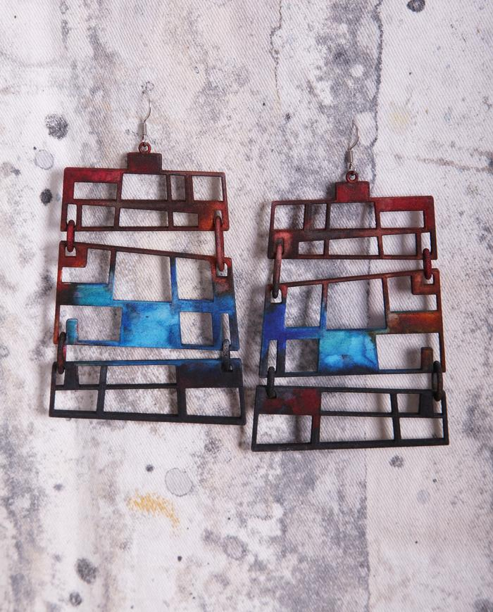 'stained glass' large geometric earrings in rust and blue