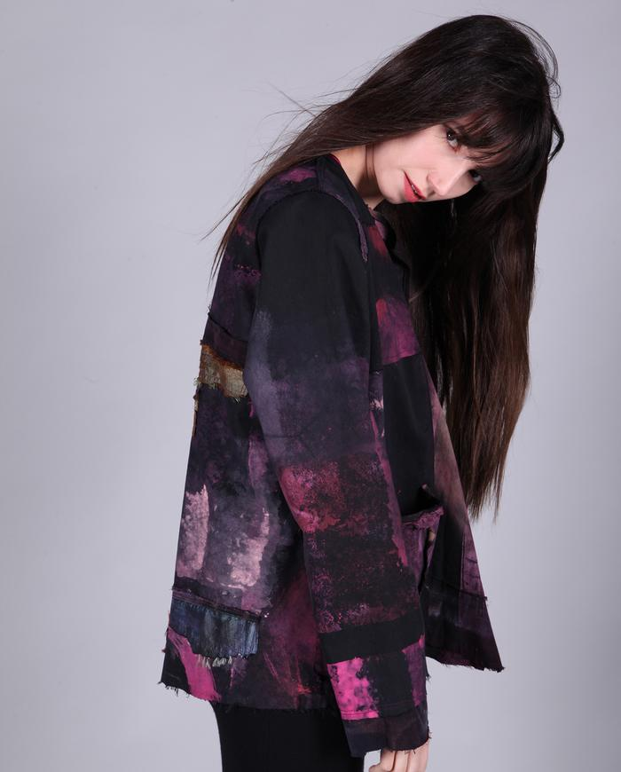 hand-painted distressed swing jacket in fuchsia over black