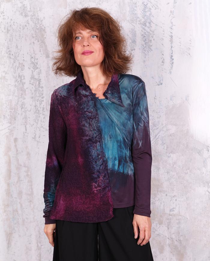 mixed textures deep purple asymmetrical top