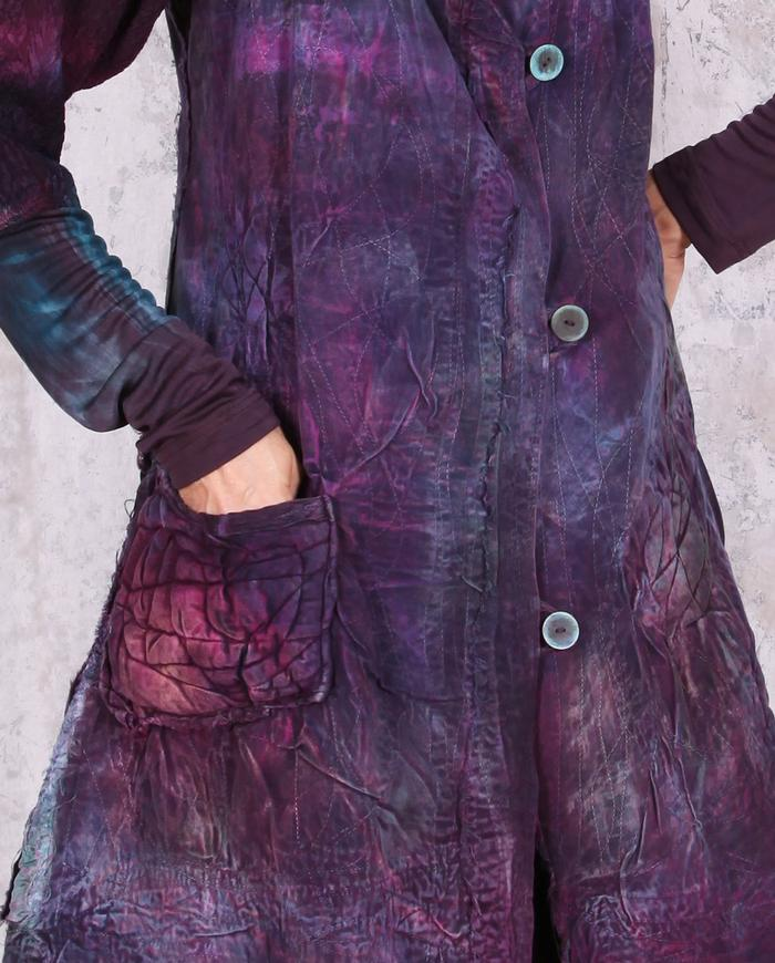 detailed quilted distressed fitted long vest or mini-dress