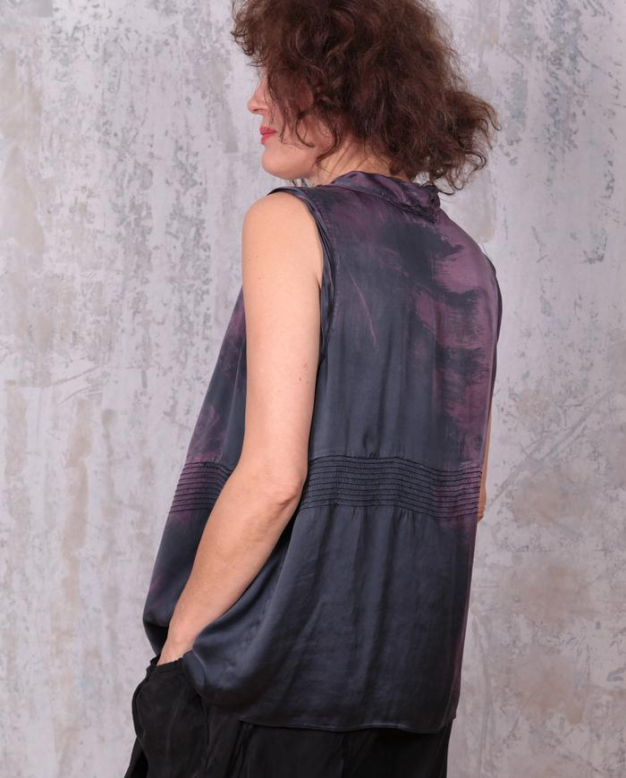 drapey loose-fitting distressed silk sleeveless top