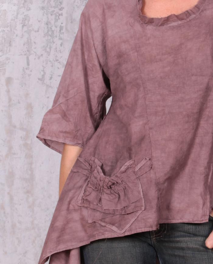 kerchief bottom asymmetrical cotton top in wet clay