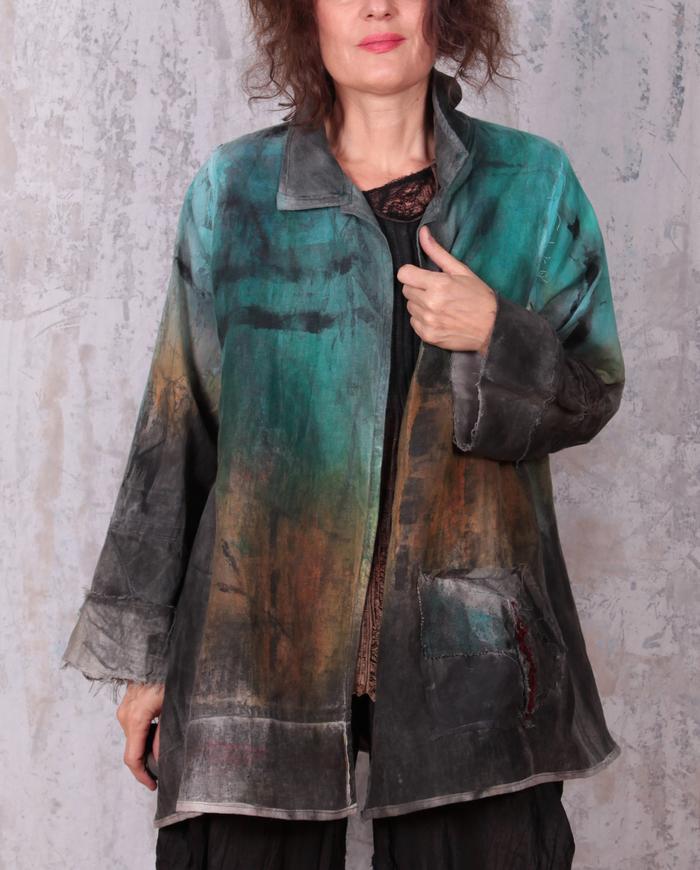 mixed fabrics 'touch of grunge' jacket