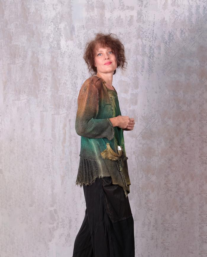 asymmetrical linen knit and crepe boho cardigan