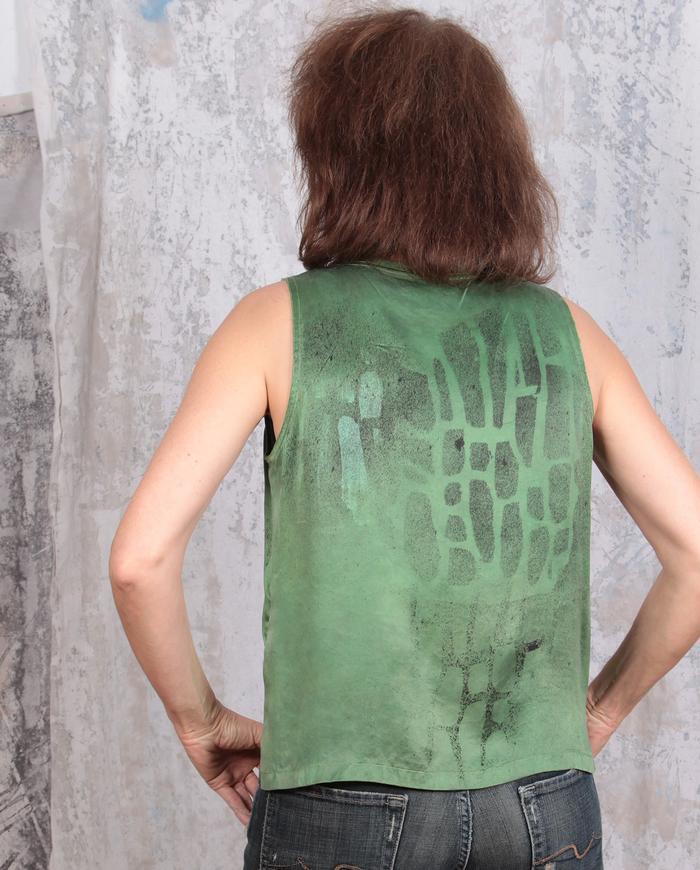 hand-printed green silk tank top