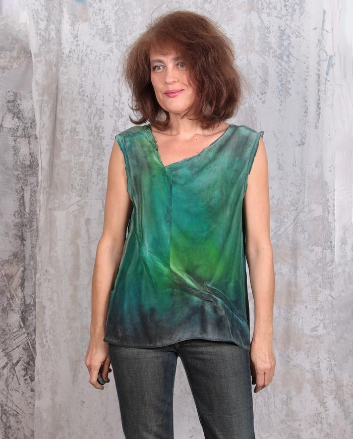 textured hand-painted green and black crepe tank top