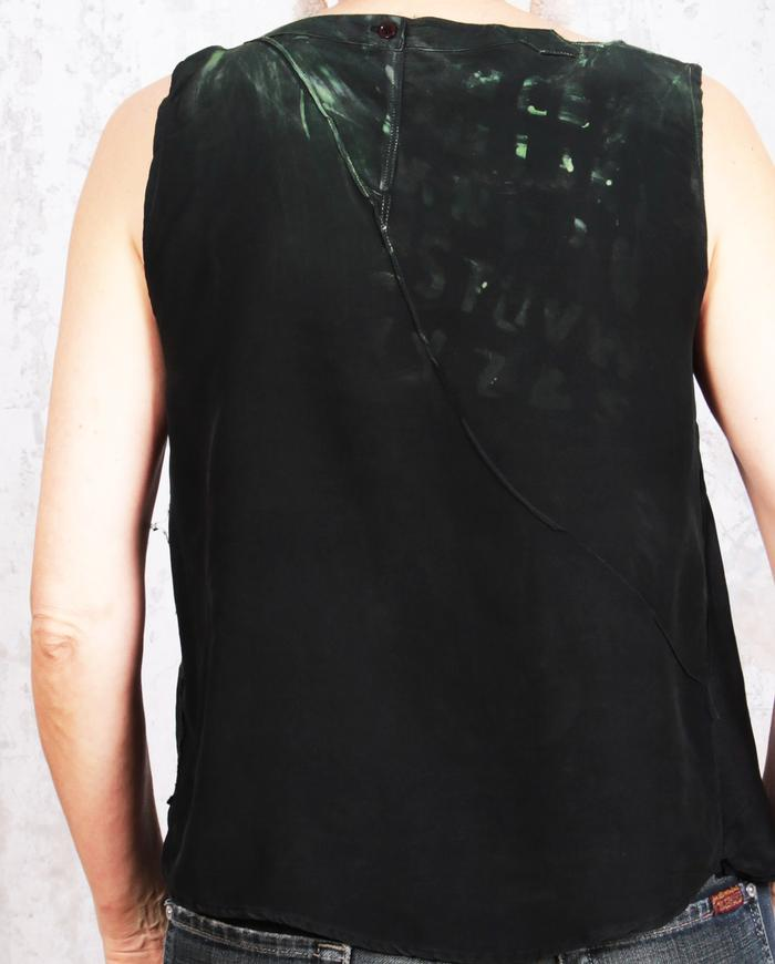 asymmetrical lightweight black and green tank top