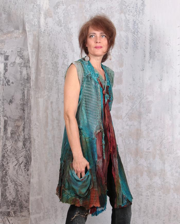 detailed knit hand-painted long vest in teal and fire