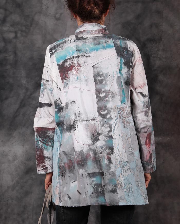 crisp cotton patchwork look jacket