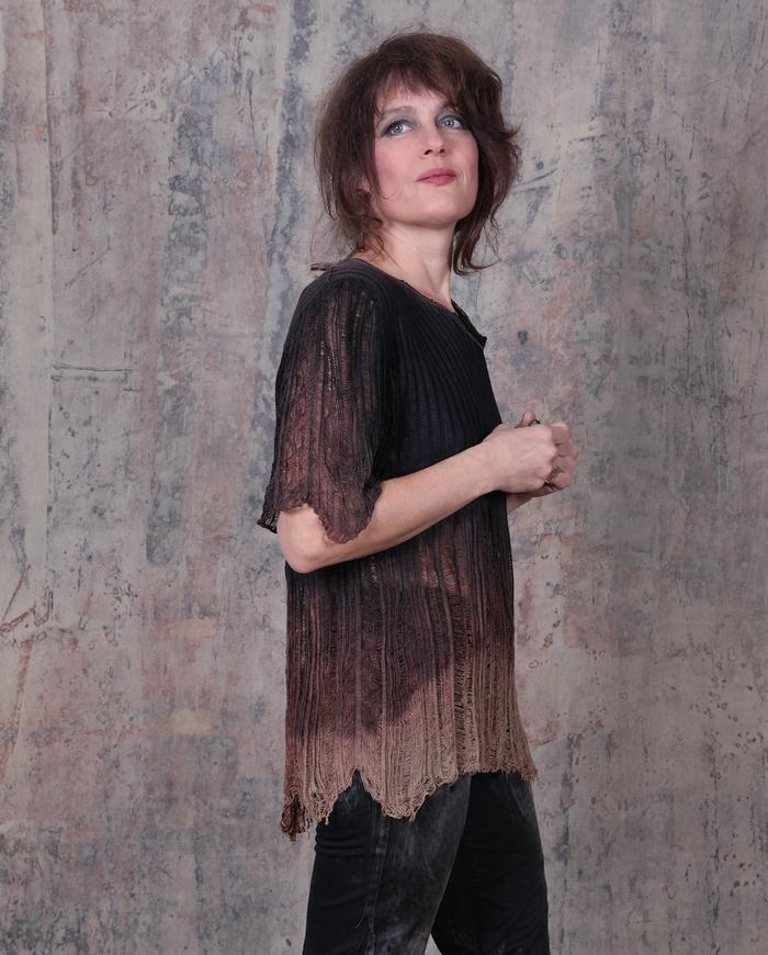 silk knit 'web' ombre brown/black top